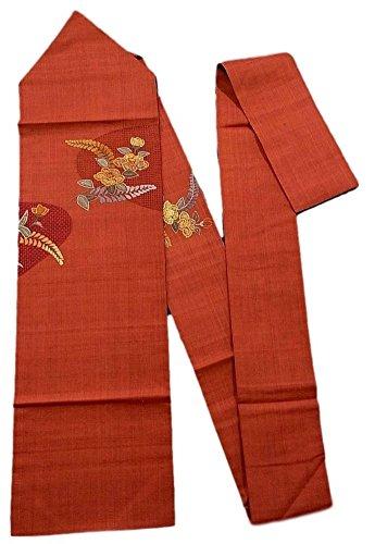 ランク色合い戸惑うリサイクル 名古屋帯 紬 相良刺繍 曲線に椿や藤の花模様 正絹