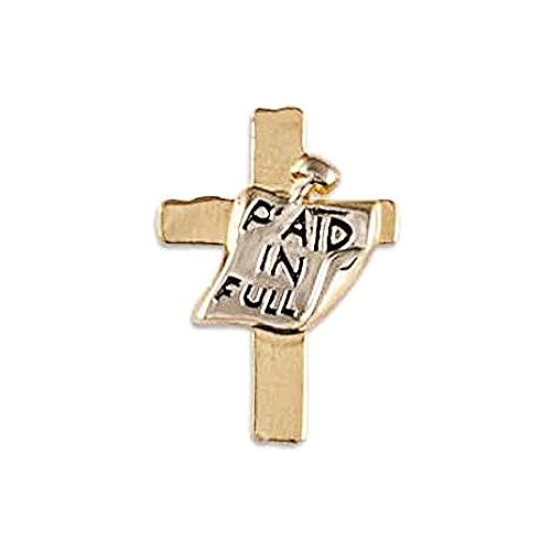 Paid In Full Cross Pin Jesus Christian - Gold & Silver by Sterling Gifts
