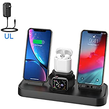 Wireless Charger, 4 in 1 Charging Station for Apple, Wireless Charging Pad Stand with Apple Watch Charger Stand, Apple Watch Charging Stand with ...