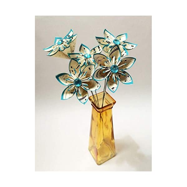 5 Sheet Music Paper Flowers Ready To Ship Handmade Turquoise
