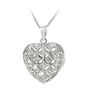 Sterling Silver CZ Puffed Heart Locket Necklace
