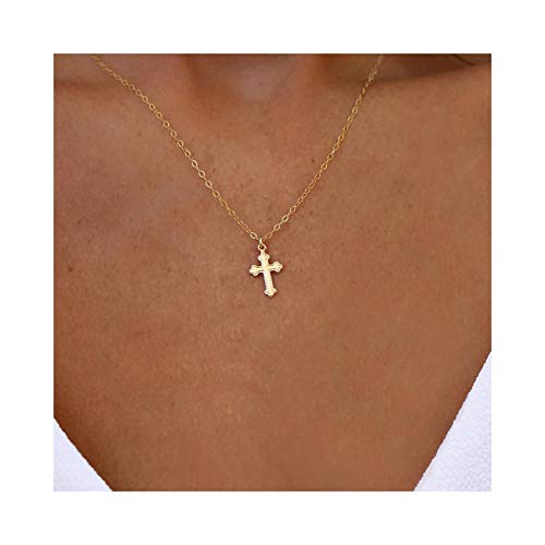 Mevecco Gold Dainty Cross Necklace for Women,14K Gold Plated Cute Tiny Boho Religious Crucifix/Faith Pendant Necklace for Teen Girls