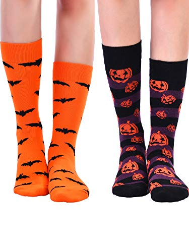 Tatuo 4 Pairs Halloween Socks Halloween Crew Socks Cotton Socks Pumpkin Bat Couple Socks for Men and Women