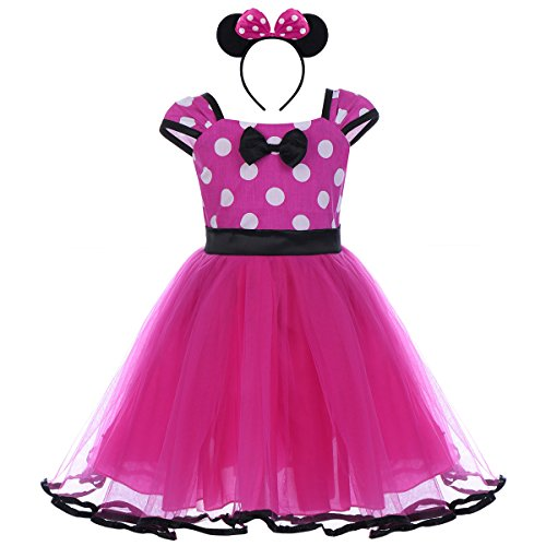 IWEMEK Toddler Girl Princess Polka Dots Christmas Birthday Costume Bowknot Ballet Leotard Tutu Dress up+3D Mouse Ear Headband, Rose & Black, 3-4 Years