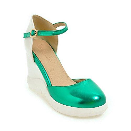BalaMasa Womens Wedges Platform Metal Buckles Urethane Platforms Sandals Green