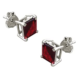 2.00 Carat Princess Garnet Cubic Zirconia Cz Stud Earrings. Sterling Silver 925 Tarnish Free & Nickel Free Top Quality Rhodium Finish from Made in U.S.A