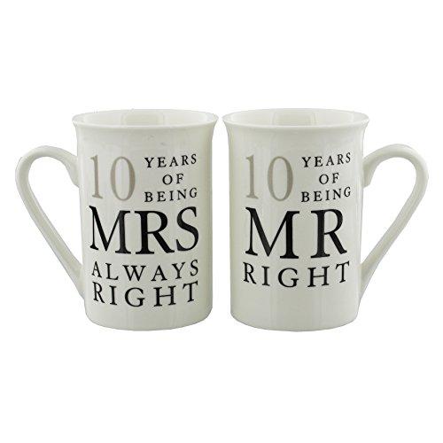Oaktree Gifts 10 Years Anniversary Mug Set Mr & Mrs