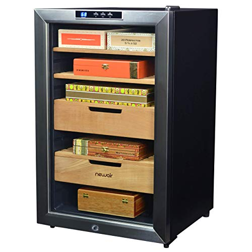 (NewAir Cigar Humidor Climate Controlled with 400 Cigar Capacity - Digital Heating and Cooling Feature - Includes Spanish Cedar Shelves and Lock - CC-300H - Stainless Steel)