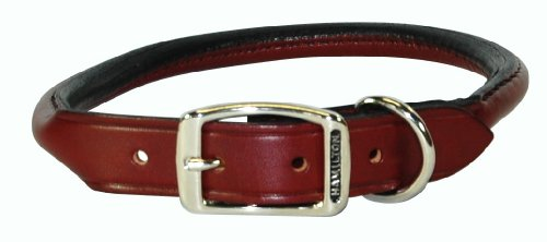 "Hamilton 1"" x 22"" Burgundy Rolled Leather Dog Collar"