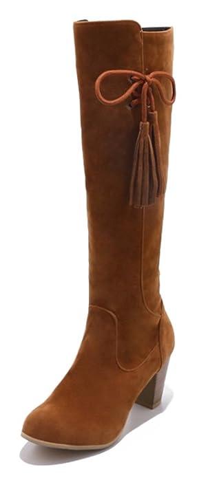 SHOWHOW Damen Schleife High Boots Schaftstiefel Mit Absatz Chelsea Boots Beige 38 EU R8Gt7s