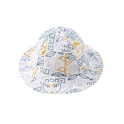 - pureborn Baby 100% Cotton Cartoon Animals Bucket Hat Infant Boys Girls Summer Sun Protection Cap Blue 3-6 Months