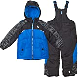 Arctic Quest Toddler Boys Color Block Pattern Fleece Lined Hood and Snow Bib Pants Set, Grey & Turquoise, 2T