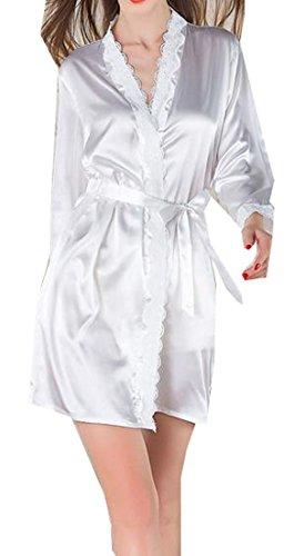 Women One Size Fashion Sexy Spandex Satin Lace Bath Robe White- - 3