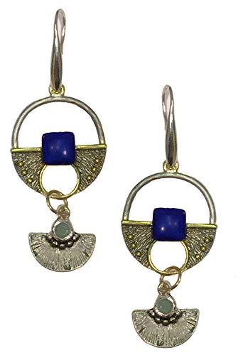 Limited Edition Design Silver Gold Tone Art Nouveau Antique Style Geometric Jade Opal Lapis Lazuli Rhinestone Modernist Dangle Earrings