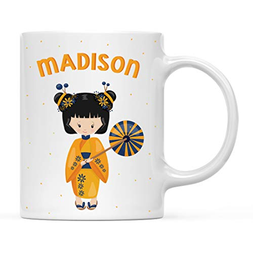 Andaz Press Personalized 11oz. Kids Milk Hot Chocolate Mug, Yellow Geisha Girl, 1-Pack, Custom Child's Birthday Christmas Coffee Cup