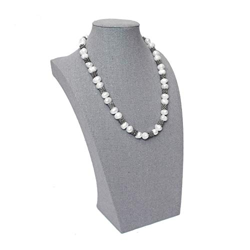 Ikee Design Gray Fabric Covered Linen Necklace Jewelry Accessory Display Bust 7W x 4D x 11 1/2H, SOLD BY EACH
