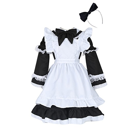 Womens Halloween Costumes Little Maid with Detachable Sleeves and Apron Black M