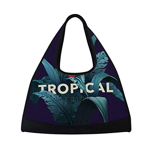 Sport Gym Bag Tropical Banana Leaves Canvas Travel Duffel Bag