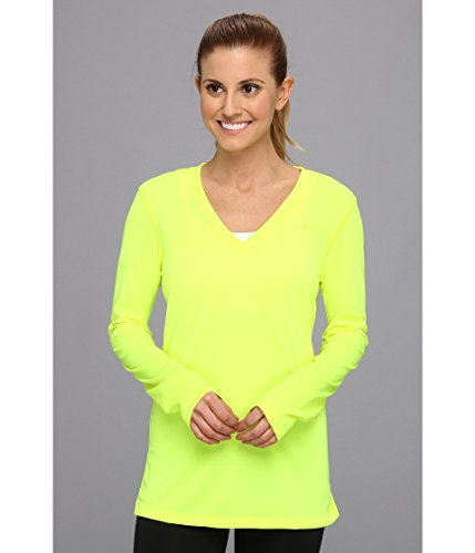 Nike Women's Regular Long-Sleeve Legend Tee V-Neck Volt/Volt SM ()