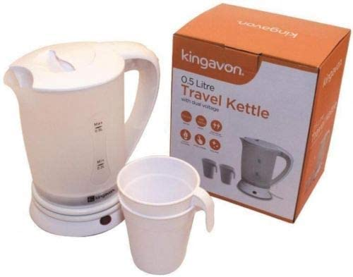 2 CUPS TRAVEL KETTLE ELECTRIC NEW 0.5 LITRE DUAL VOLTAGE SMALL IN WHITE COLOUR