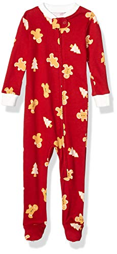 Amazon Essentials Kids Baby and Toddler Zip-Front Footed Sleeper, Red Gingerbread, 4T