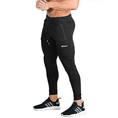 ECHT Tapered Joggers Black V2 Men Pants Gym Wear Sweat Trousers Slim Fit Bottoms