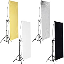 """Neewer 35"""" x 70""""/ 90 x 180cm Photo Studio Gold/Silver & Black/White Flat Panel Light Reflector with 360 degree Rotating Holding Bracket and Carrying Bag"""