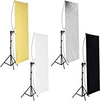 Neewer 35 x 70/ 90 x 180cm Photo Studio Gold/Silver & Black/White Flat Panel Light Reflector with 360 degree Rotating Holding Bracket and Carrying Bag