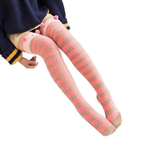 High Winter Socks Boot Coral Over Cartoon Stocking Women Fleece Thigh D Knee Fullfun Warm Long Leggings S5waqgzwx