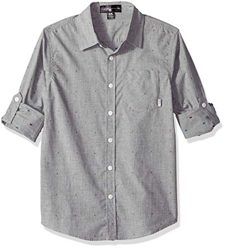 Beverly Hills Polo Club Boys' Big Long Sleeve Shirt, Grey/Multi dot, 14/16