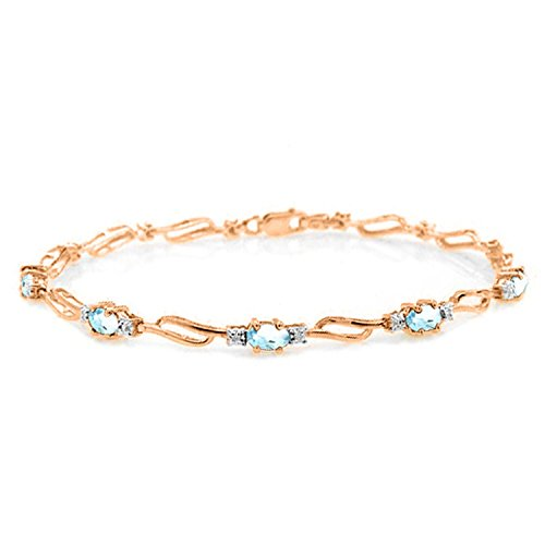 ALARRI 14K Solid Rose Gold Tennis Bracelet w/ Aquamarines & Diamonds Size 7 Inch Length by ALARRI