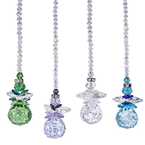 H&D Beautiful Angel Crystal Ball Pendant Chandelier Decor Hanging Prism Ornaments,Crystal Ornament Ball Suncatcher Window Prisms,Pack of (Angel Hanging Crystal)