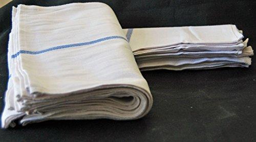 1 Dozen 100% Cotton Herringbone Blue Striped Dish Towels / L