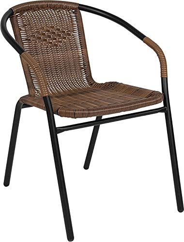 Flash Furniture 4 Pk. Medium Brown Rattan Indoor-Outdoor Restaurant Stack Chair (Chairs Resin Wicker)