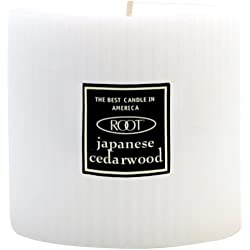 Root Scented Grecian Pillar Candle, 3-Inch by 3-Inch Tall, Japanese Cedarwood