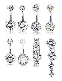 Fiasaso 8 Pcs Rhinestone Pearl Navel Rings Belly Button Ring Dangle Body Jewelry