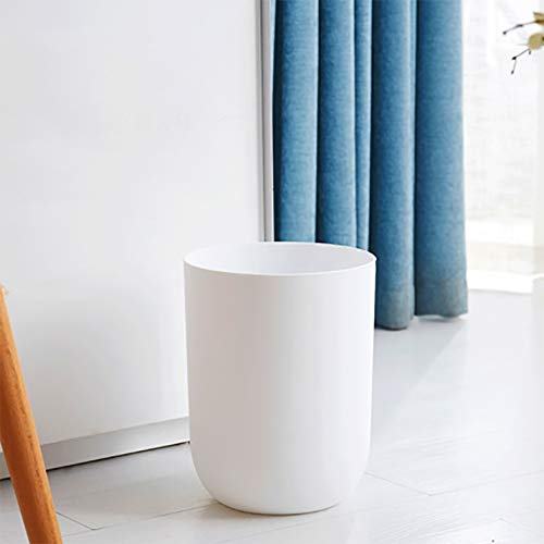 GWW Plastic Trash can Without lid,12l Solid Color Waste bin Circle Rubbish bin Scrub Waste Paper Basket for Bedroom Office-White 20x27cm(8x11inch) ()