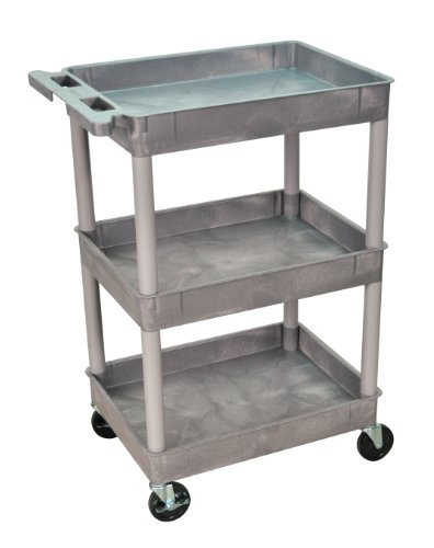 Luxor/H.Wilson 3 Tub Shelf Utility Cart, Gray (STC111-G) by Luxor/H.Wilson