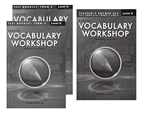 Vocabulary Workshop Test Booklet Form A,B Enriched Edition with Teacher's Answer Keys [Level G]