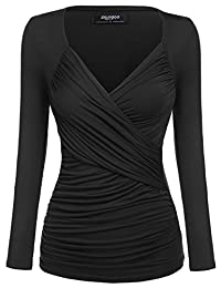 Zeagoo Women's Cross-front V Neck Ruched Long Sleeve Blouse