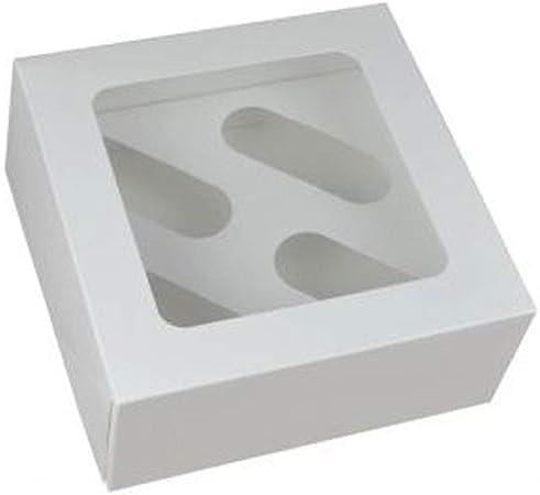 Cater For You 4 - Caja para Cupcakes (cartón, 17,8 x 17,8 x 7,6 cm), Color Blanco: Amazon.es: Hogar