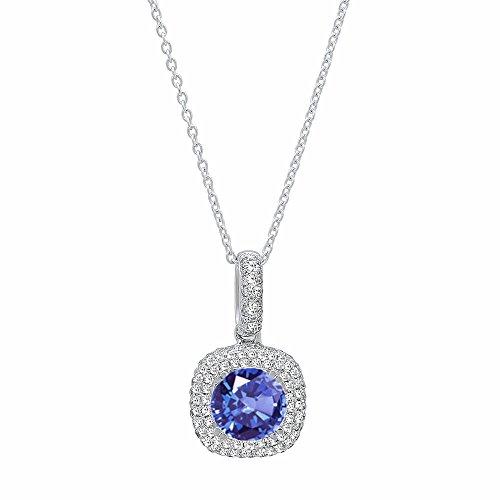 Dazzlingrock Collection 14K 6 MM Round Tanzanite & White Diamond Ladies Double Halo Pendant, White Gold