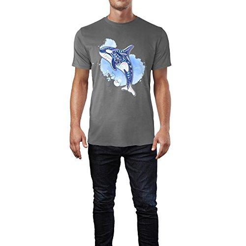 SINUS ART® Ethno Orcinus Orca Colour Splash Herren T-Shirts in Grau Charocoal Fun Shirt mit tollen Aufdruck