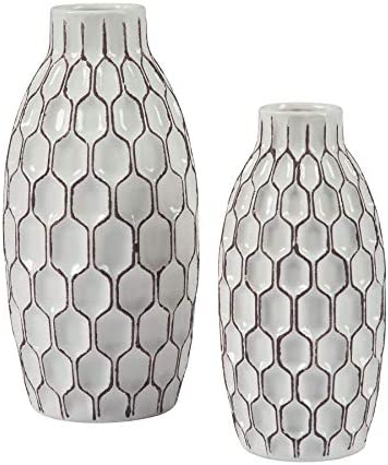 Ashley Furniture Signature Design – Dionna Vases Set of 2 – Contemporary – White Brown