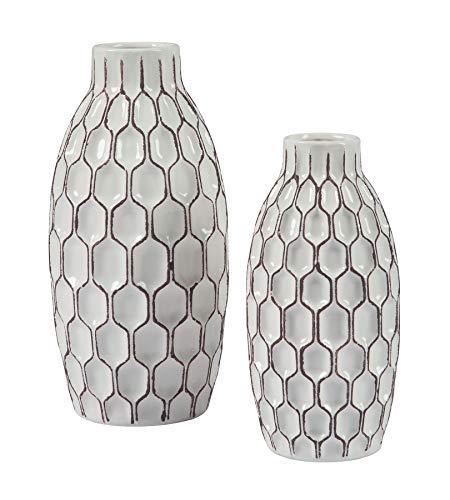 Ashley Furniture Signature Design - Dionna Vases Set of 2 - Contemporary - White/Brown