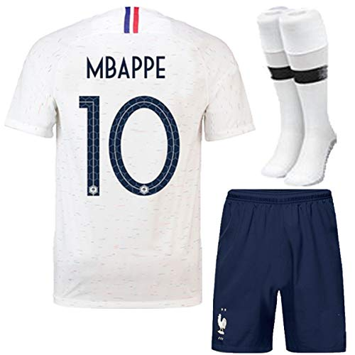 FC FirstClass 2018 Football Soccer Club Away Kit White Jersey Short Sleeve Sport Outfit Kids 3-12 Years Set &Socks Free Ice Face Cloth (7-8 years, MBAPPE 10)