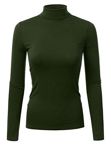 Doublju Soft Knit Turtleneck T-Shirt Top (Made In USA / Plus size available) OLIVE X-LARGE (Turtleneck Shirt Ivory)