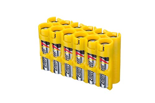 Storacell AAA12pkCY by Powerpax AAA Battery Caddy, Yellow, Holds 12 Batteries