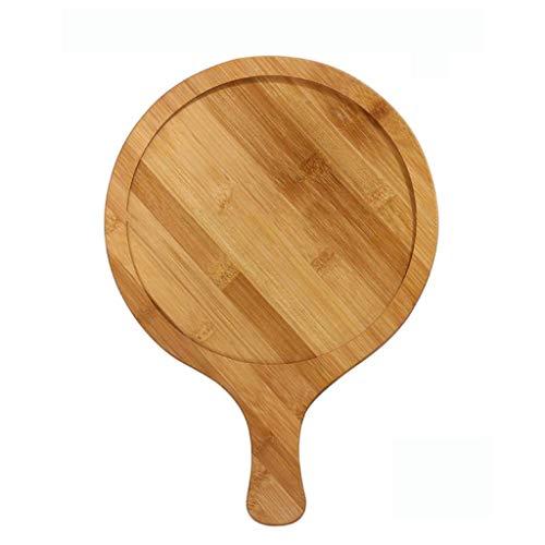 Home Wood Pizza Peel, natuurlijke bamboe houten ronde snijplank met handvat voor het bakken van zelfgemaakte pizza en…