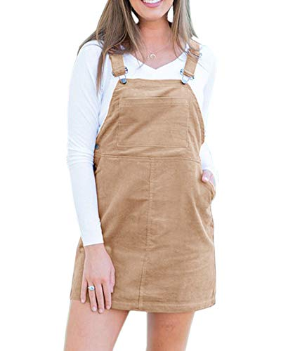 Mafulus Womens Dress Corduroy Sleeveless Suspender Casual Bib Overall Pinafore Dresses with Pockets